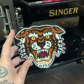 chainstitched patch tattoo tiger