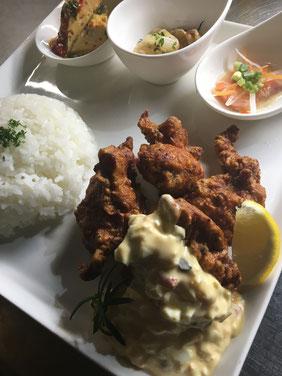 有明鶏もも肉のスパイス唐揚げ&ライス~自家製タルタルソース添 え~ (9月28日予定)