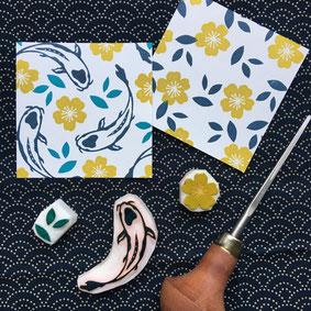 Tampons Japon carpe koï fleur Le Héron Graveur