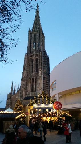 Das Ulmer Münster kurz vor´m Sonnenuntergang