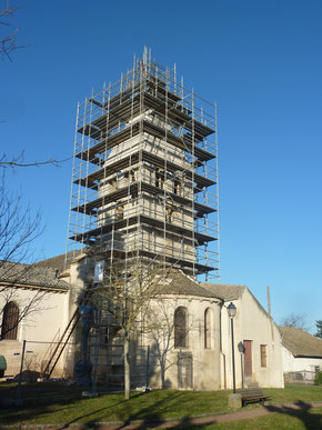 Restauration en cours clocher de Simandre (71) - Ent. Demars.