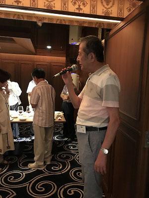 カラオケ同好会の会長(大竹三郎氏)から、活動報告とご案内を皆さんにお話ししました。