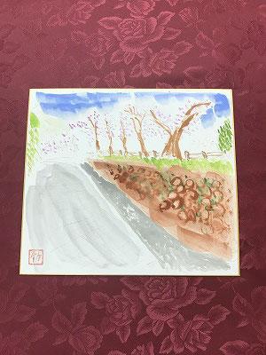 Sさんは、春ごろに撮った桜並木を遠近法で描きました(^^♪