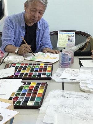 佐々木先生が見本を描いて・・・・