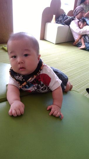 赤ちゃんが何かに上る写真