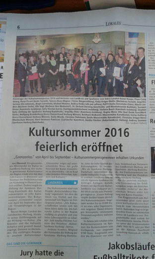 Eröffnungsveranstaltung des Kultursommer 2016 (WA vom 12.04.2016)