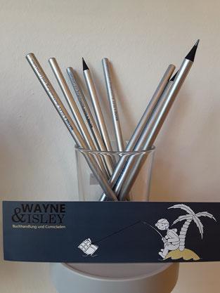 Comics, Bleistifte und Lesezeichen angeln. Kommt vorbei!