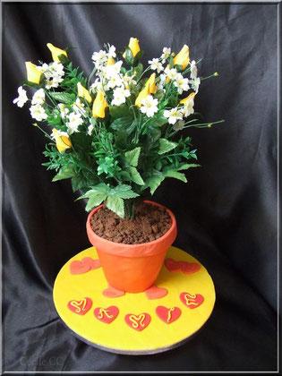 tuto gateau pot de fleur avec bouquet pour offrir