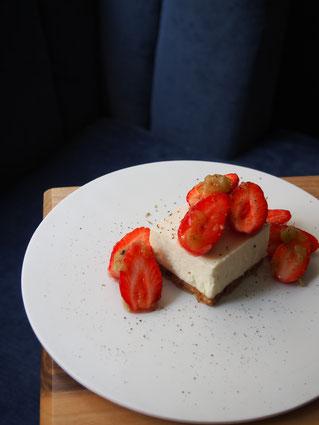 Cheesecake fraises & rhubarbe
