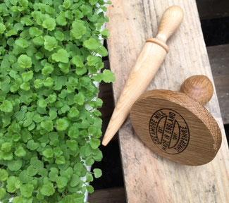 Zwei wichtige Helfer bei der Aussaat: Saat-Tamper zum Andrücken der Saaten und Mini Pflanzholz zum Pikieren der kleinen Setzlinge bei www.the-golden-rabbit.de
