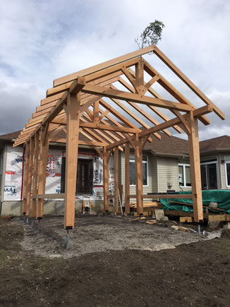 Douglas Fir attached sunroom and hot tub shelter