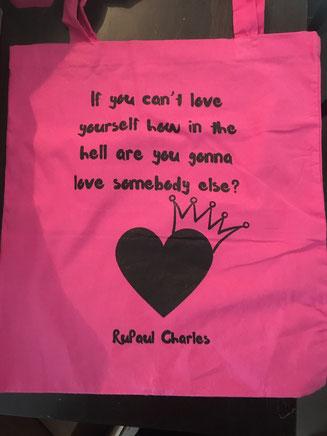 Stoffbeutel mit Zitat von RuPaul Charles