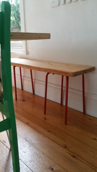 ikea hack from an old table and ikea stools