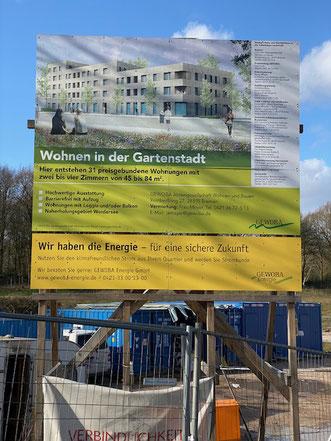 Werbeschild Gartenstadt Werdersee (Ansicht von der Habenhauser Landstraße) (Foto 02/2020)