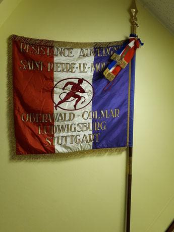 drapeau du 15.2 Régiment d'Auvergne qui se trouve dans la salle d'honneur du régiment à Colmar est correspond à leurs parcours