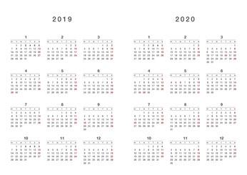 2019年・2020年カレンダー