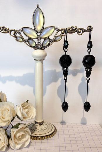 Boucles d'oreille noires pendantes de style victorien
