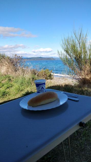 Notre dernier petit-déjeuner en van :)
