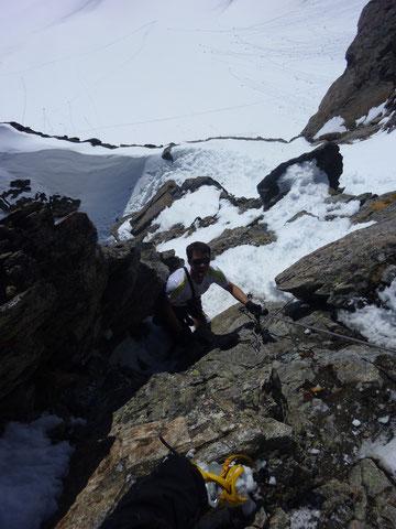 Skitour, Schweiz, Bächenstock, Meiental, Gotthard, Gipfelaufstieg, Fixseile