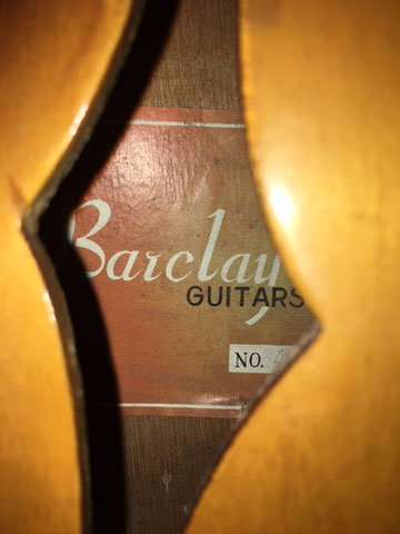 The sticker inside, 'Barclay Guitars' refers to an Australian distributor who imported Japanese guitars in the 60s and 70s.