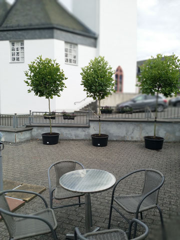 Der Blick über die Terrasse auf die Kirche