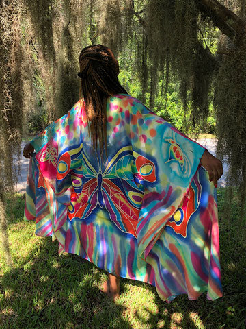 colorful flowing silk tunic with big butterflies