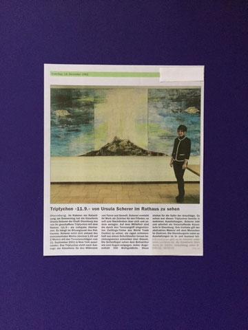 """Triptychon  """"9/11"""" von der Künstlerin Ursula Scherer im Obernburger Rathaus    //   Dezember 2002"""