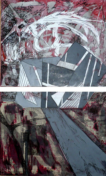ohne Titel: Zweimal 40 x 50 cm. Wachsreserviertechnik, Acrylmalerei, Stiftzeichnung, Collage. 2012-2013