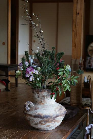 陶芸家 ブログ 茨城県笠間市 女性陶芸家 お正月 生け花 正月飾り