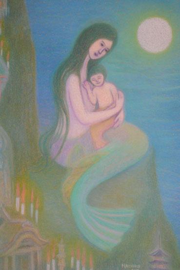 """""""Rote Kerzen und Meerjungfrau"""" ( Märchen von Mimei Ogawa) 62.5cmx52.5cm"""