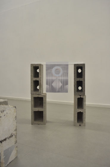 Judith Adelmann life savers 2016 (in three parts), installation views at Erg:Galerie Brussels,  concrete, foam, plastic, carton, aluminum, wood