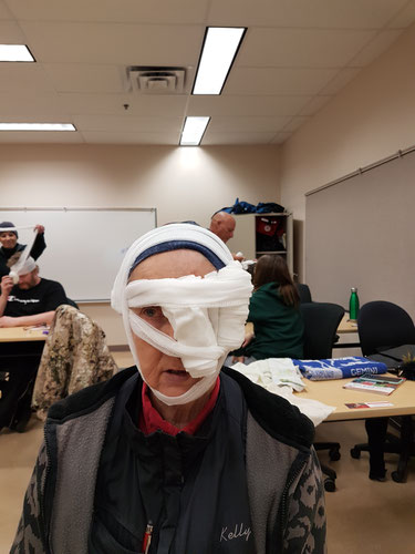 "No I didn't get injured!! I went to my First Aid Update and got to be a ""victim"" who needed her eye covered."