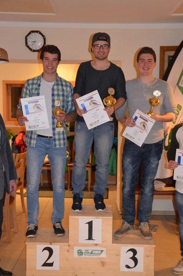 Sieger der Herren-Klasse: 2. Sieger Andreas Fürstberger, 1. Sieger Maxi Ginghuber, 3. Sieger Michael Hopper