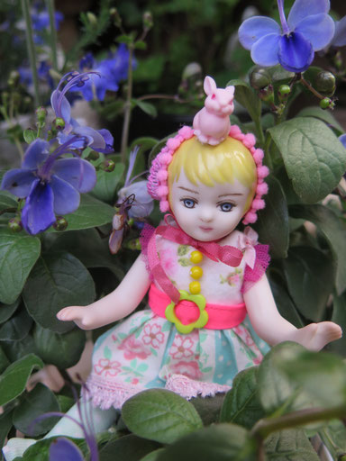お茶花のかりがねの木 と まりものみんりぃさんの女の子