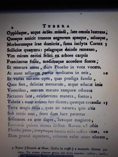 """Giovanni Bernardo Vigo verfasste im Jahre 1776, in lateinischer Schrift, das Gedicht """"Tubera terrae"""" wo er über die Erlesenheit des Trüffels poesierte.  Das Gedicht handelt von Trüffeln, die er lobpreiste.  Außerdem gibt es eine Passage unter welchen Vora"""