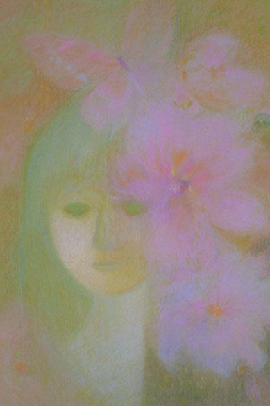 Mädchen im Blumengarten 52.5cmx42.5cm