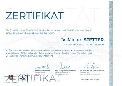 Qualitätssicherungszertifikat für die Ordination Dr. Miriam Stetter