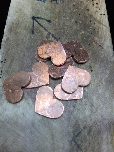 ハートの銅の切り出し
