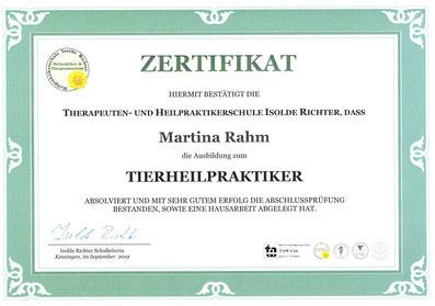 Zertifikat Tierheilpraktiker