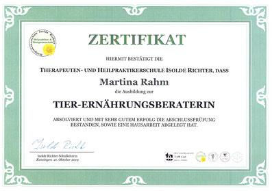 Zertifikat Tierernährungsberaterin
