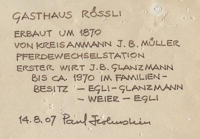 Urkunde zum Gasthaus Rössli.