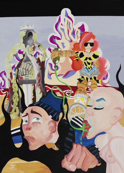 STRANDPARTY, 2018, Acryl auf Leinwand, 180x 130 cm