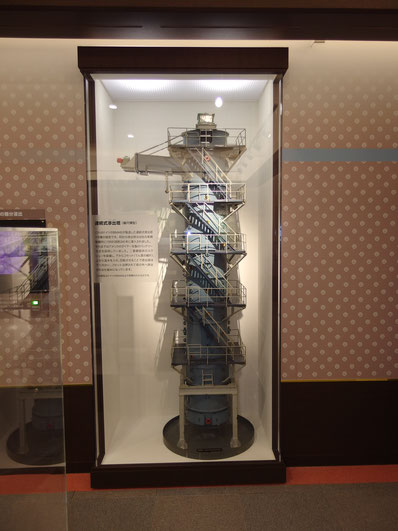 連続浸出塔の第一号機 模型