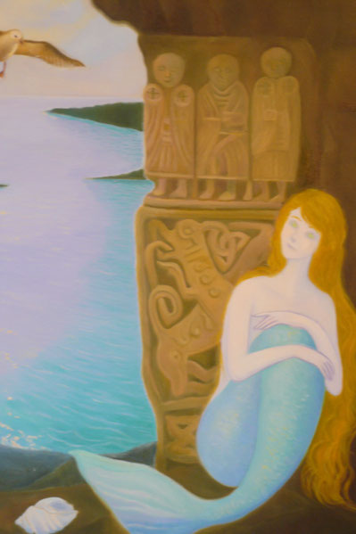 A mermaid behind the rock 70x60cm