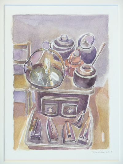 In the old kitchen ( The Skye Museum of Island life, sold)32.5cmx26.5cm