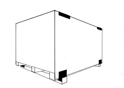 Schwergutkiste geschlossen, mit Boden- und Deckelwinkel