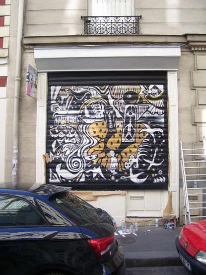 graff, tag, rideau de fer, décoration, graffiti, paris, rideau métallique