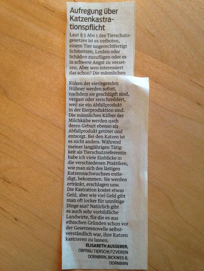 Leserbrief zur Kastrationspflicht von Bauernhofkatzen, VN 30.04.2016