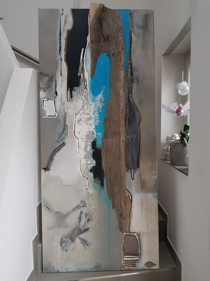 """Kunst trifft Natur 4"" - 180cm x 80cm - Acryl auf Leinwand - Eichenholz der Fa. Hugo Kämpf  - verkauft -"