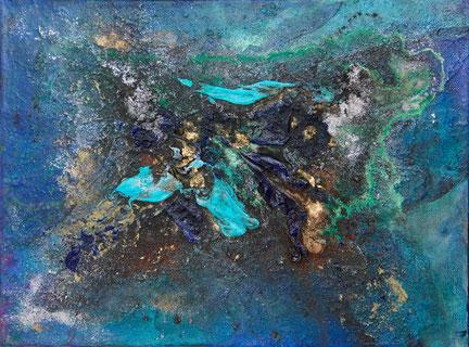 """""""Türkis Gold Komposition"""", Acryl und Pigmente auf Leinwand, 24x32 cm"""